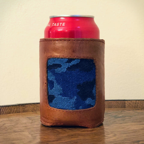 Royal Blue Camo Needlepoint Koozie by Smathers & Branson