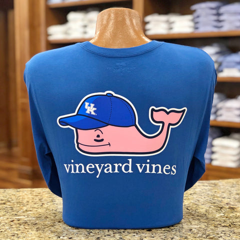 University of Kentucky Ball Cap Whale Long Sleeve Tee in Royal Blue by Vineyard Vines