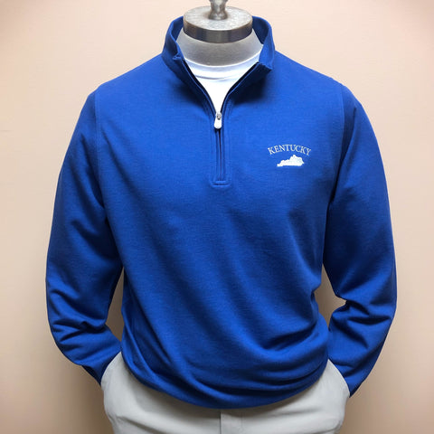 Kentucky Crown Comfort Interlock Quarter-Zip Pullover in Blue Lapis by Peter Millar