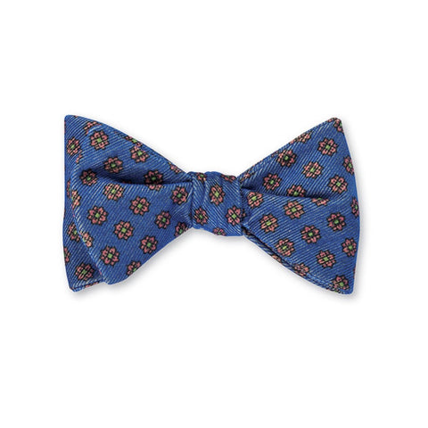 Corduroy Foulard Bow Tie in Blue by R. Hanauer