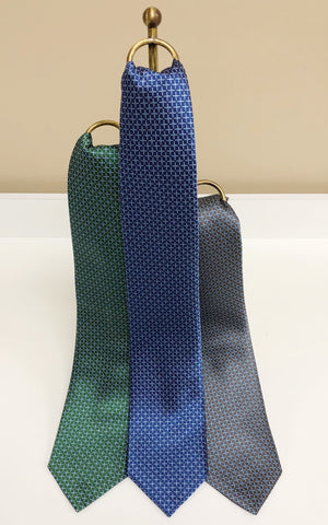 Grid Pattern Silk Neck Tie in 3 colors by David Donahue