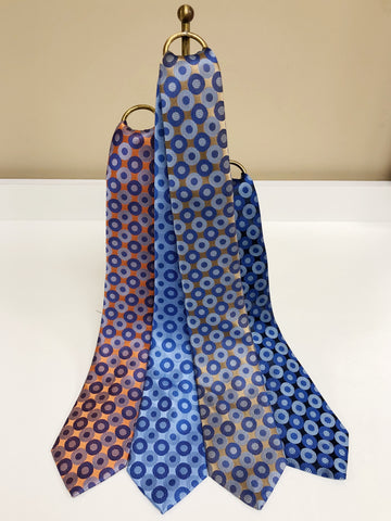 Circle Medallion Silk Neck Tie in 4 colors by David Donahue