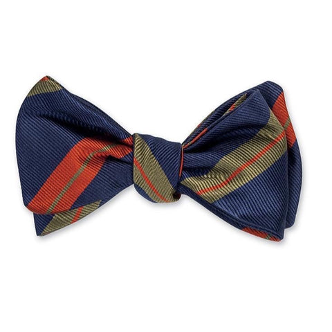 Navy Oberlin Stripes Bow Tie by R. Hanauer