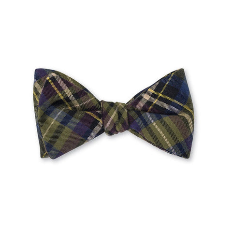 Plaid Bow Tie in Olive & Purple by R. Hanauer