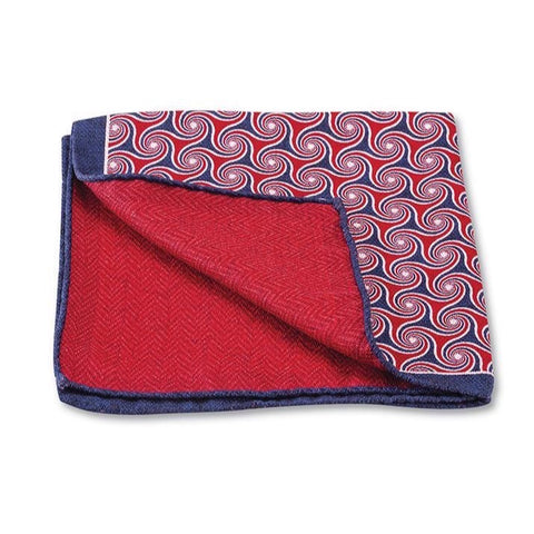 Red Windingbrook Pocket Square by R. Hanauer