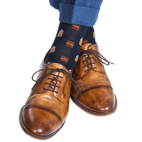 Navy with Orange Barrels & Bottles Mid Calf Socks by Dapper Classics