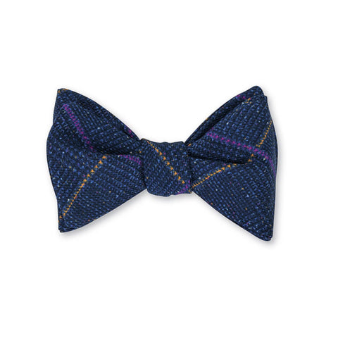 Halifax Plaid Bow Tie in Navy by R. Hanauer