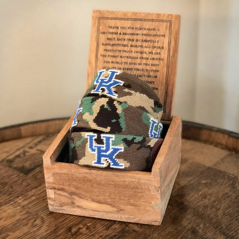 University of Kentucky Camo Needlepoint Belt by Smathers & Branson