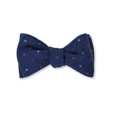 Dot Challis Bow Tie in Blue by R. Hanauer