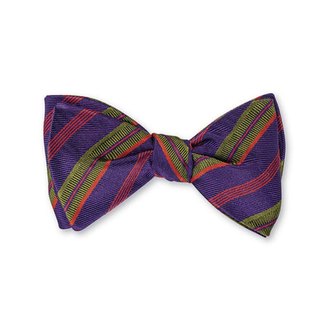Albemarle Stripes Bow Tie in Purple by R. Hanauer