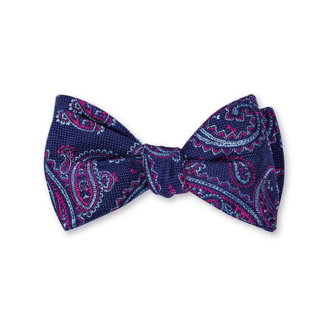 Nelson Paisley Bow Tie in Navy by R. Hanauer