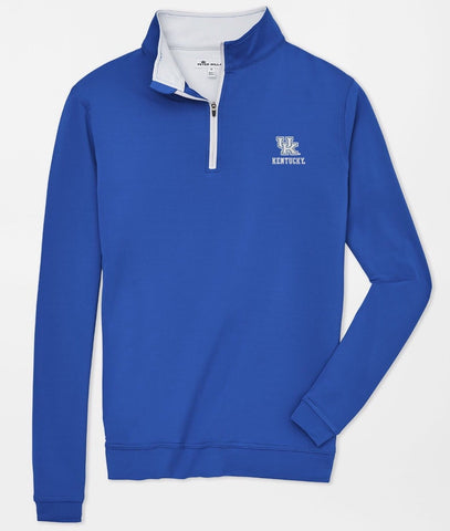 Kentucky UK Text Perth Stretch Loop Terry Quarter-Zip in Blue by Peter Millar