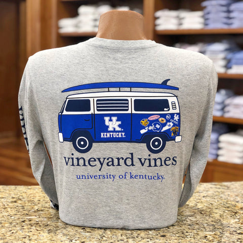 University of Kentucky Tailgating Bus Long Sleeve Tee in Grey Heather by Vineyard Vines