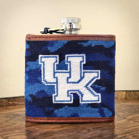 University of Kentucky Blue Camo Needlepoint Flask by Smathers & Branson