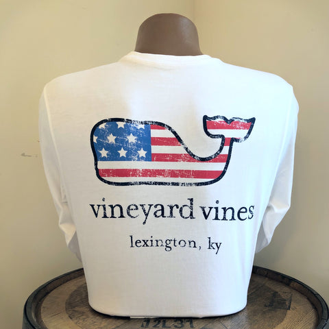 Lexington KY Flag Whale Graphic Long Sleeve Tee in White Cap by Vineyard Vines