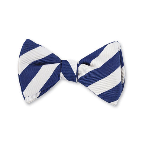 Bar Stripes Bow Tie in Royal & White by R. Hanauer
