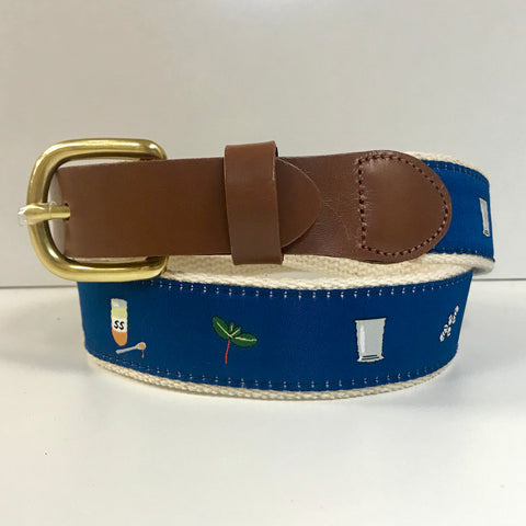Mint Julep Recipe Motif Belt on Blue by Leather Man Ltd.