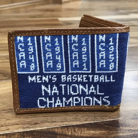 University of Kentucky NCAA National Champions Needlepoint Wallet on Blue by Smathers & Branson