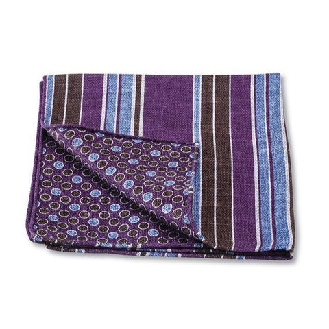 Purple Woodlawn Stripes Pocket Square by R. Hanauer