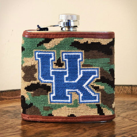University of Kentucky Camo Needlepoint Flask by Smathers & Branson