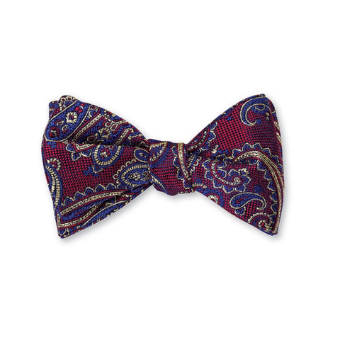 Nelson Paisley Bow Tie in Burgundy by R. Hanauer