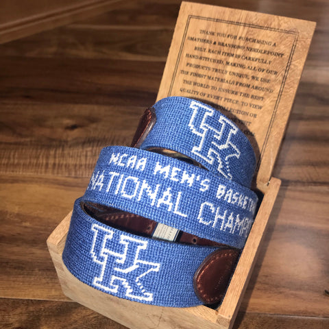 University of Kentucky NCAA National Champions Needlepoint Belt on Blue by Smathers & Branson
