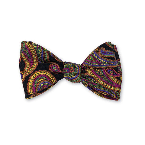 Hanover Paisley Bow Tie in Black by R. Hanauer