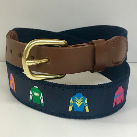 Jockey Motif Belt on Navy by Leather Man Ltd.