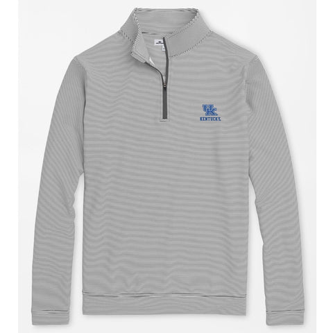 Kentucky UK Text Perth Mini-Stripe Stretch Loop Terry Quarter-Zip in Iron/White by Peter Millar
