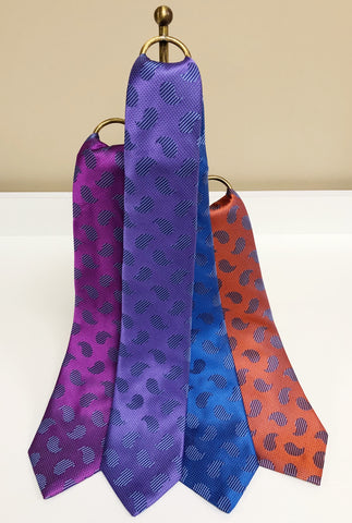 Tonal Paisley Silk Neck Tie in 4 colors by David Donahue