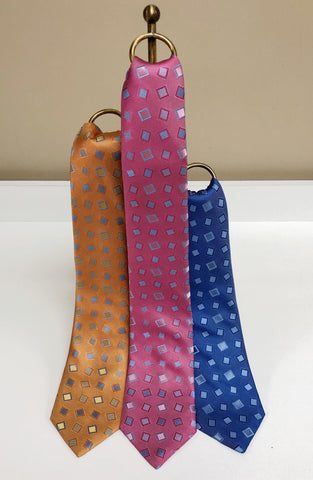 Dancing Squares Silk Neck Tie in 3 colors by David Donahue