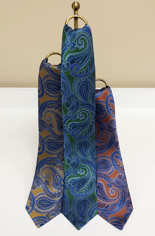 Blue Paisley Silk Neck Tie in 3 colors by David Donahue