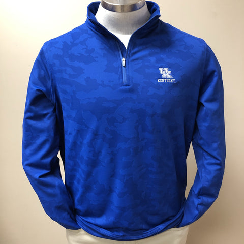 University of Kentucky Camouflage Perth Performance Quarter-Zip in Blue Lapis by Peter Millar
