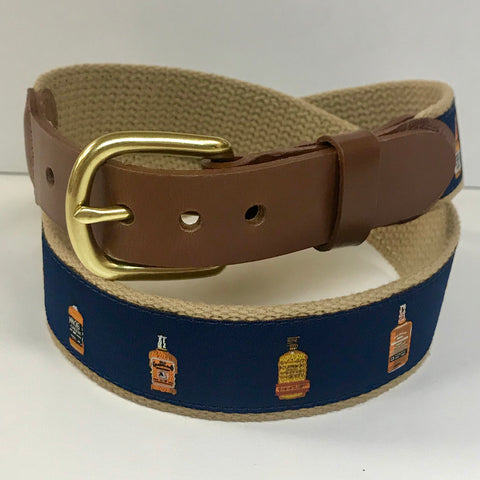 Bourbon Bottle Motif Belt on Navy by Leather Man Ltd.