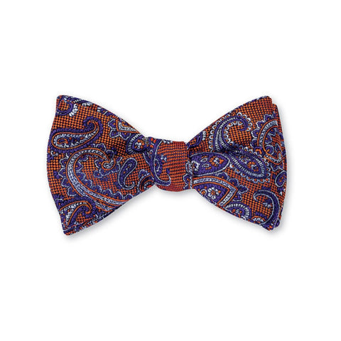 Nelson Paisley Bow Tie in Orange by R. Hanauer