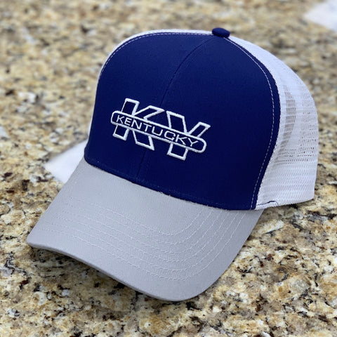KY Trucker Hat in Blue & Grey by Logan's