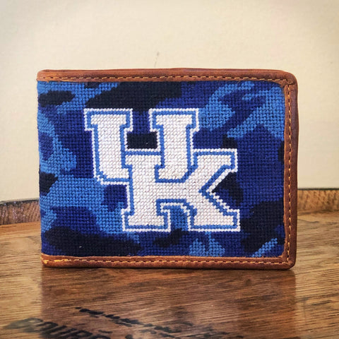University of Kentucky Blue Camo Needlepoint Wallet by Smathers & Branson