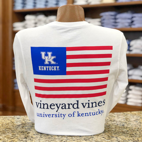 University of Kentucky USA Flag Long Sleeve Tee in White Cap by Vineyard Vines