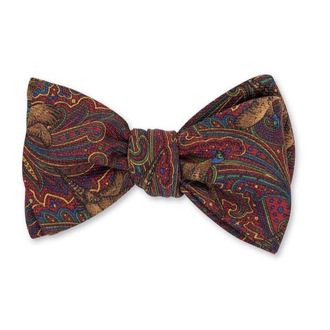 Burgundy Copperwood Pheasants Bow Tie by R. Hanauer