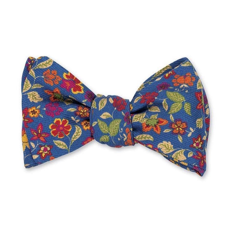 Blue Danbury Floral Bow Tie by R. Hanauer