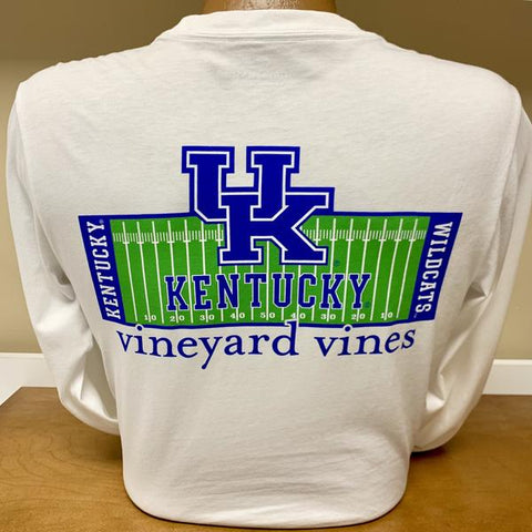 University of Kentucky Football Field Long Sleeve Tee in White Cap by Vineyard Vines