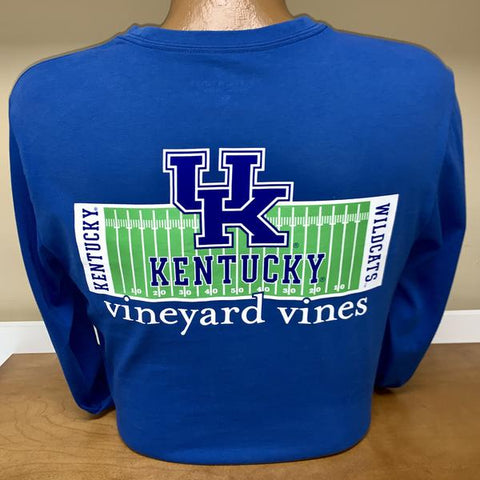 University of Kentucky Football Field Long Sleeve Tee in Royal Blue by Vineyard Vines