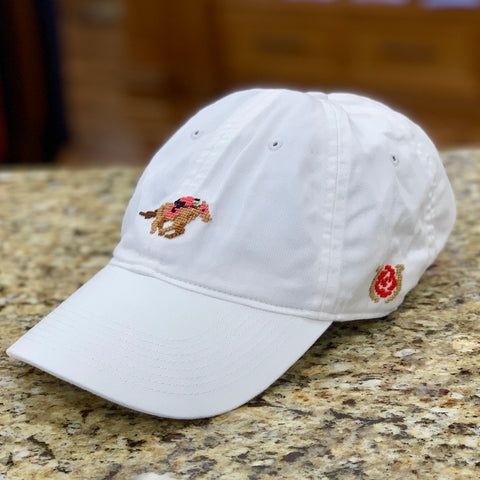 Kentucky Derby Needlepoint Hat in White by Smathers & Branson