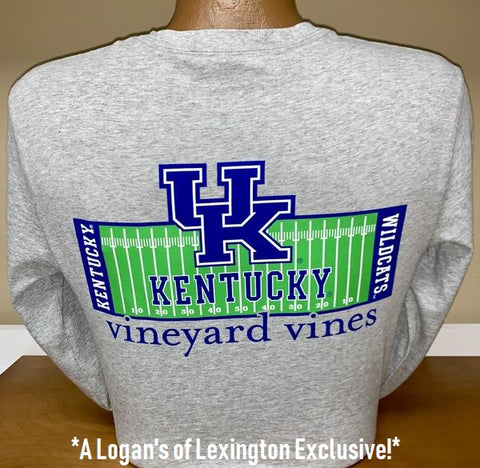 University of Kentucky Football Field Long Sleeve Tee in Grey Heather by Vineyard Vines