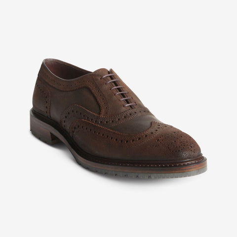 McTavish Oxford Wingtip Dress Shoe in Brown Waxed Suede by Allen Edmonds