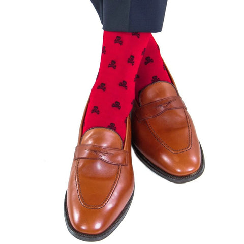 Red With Black Skull and Crossbones Mid Calf Socks by Dapper Classics