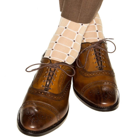 Tan With White Grid Mid Calf Socks by Dapper Classics