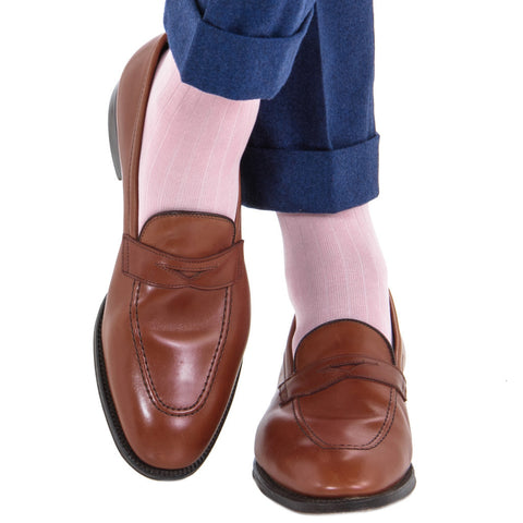 Pink Solid Ribbed Mid Calf Socks by Dapper Classics