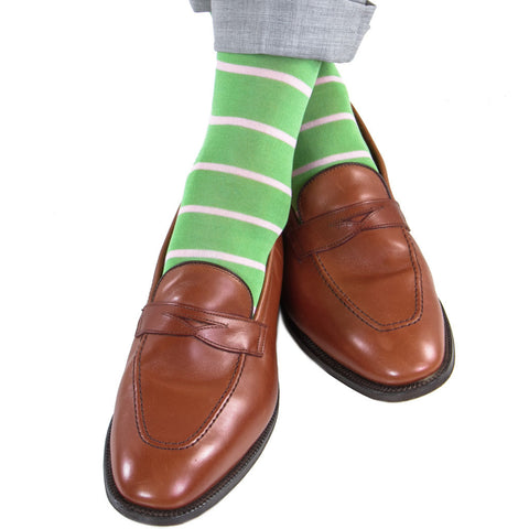 Green Grass With Pink Stripe Mid Calf Socks by Dapper Classics