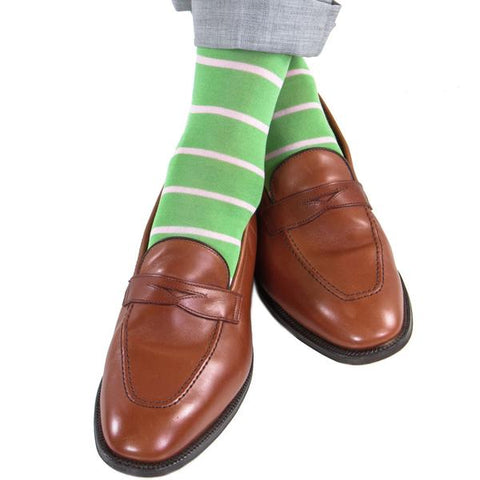 Green With Pink Stripe Mid-Calf Socks by Dapper Classics